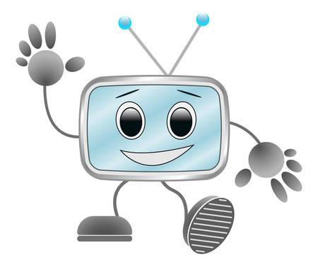 funny robot: vector image - funny robot waving his hand and walks