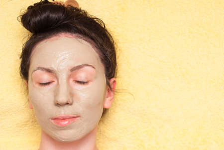 regenerate: girl takes the spa treatments to regenerate facial skin Stock Photo