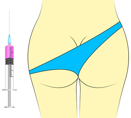 buttocks: vector image - female priest and an injection syringe