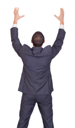 imaginary: man in a business suit holding imaginary object