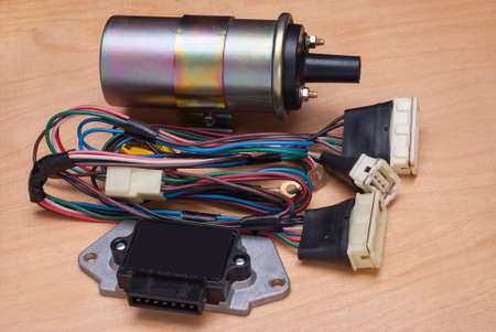 ignition: ignition coil; switch and wires on the vehicle ignition system