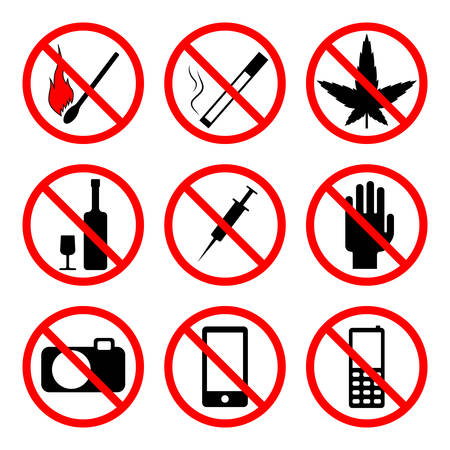 sign not to talk by phone: vector image - prohibiting signs of different subjects