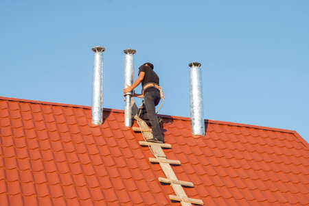 foil: installation of air ducts on the roof