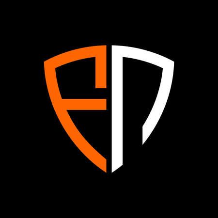 initials white orange shield against black background