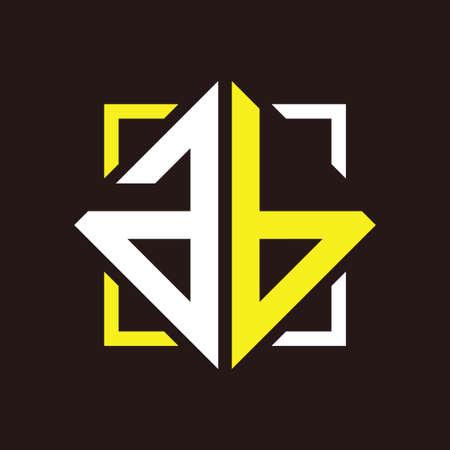 A B Initial monogram quadrangle with black squares and background