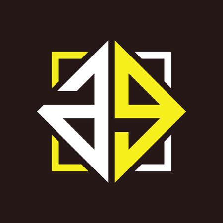 A G Initial monogram quadrangle with black squares and backgrounds