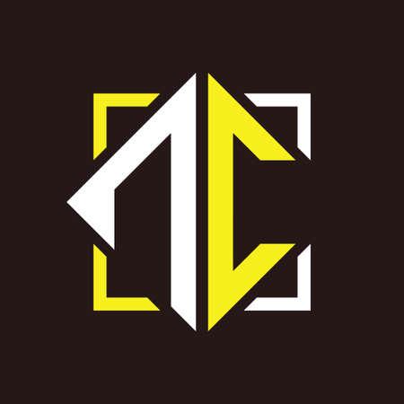 N C Initials quadrangle monogram with square