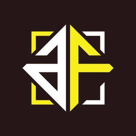 A F Initial monogram quadrangle with black squares and backgrounds