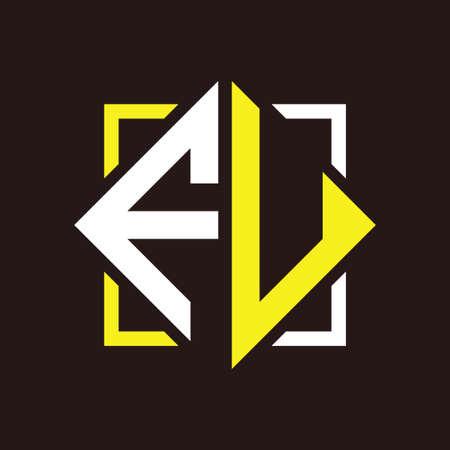 F U Initials quadrangle monogram with square