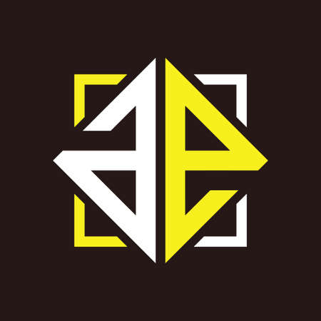 A E Initial monogram quadrangle with black squares and backgrounds Illustration