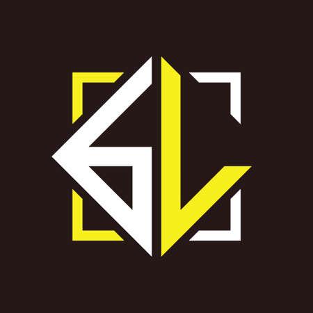 B L initial monogram quadrangle with square