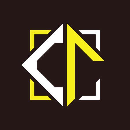 C R initials quadrangle monogram with square Illustration