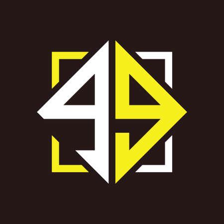 G G Initials quadrangle monogram with square Illustration