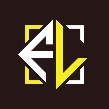 F L Initials quadrangle monogram with square