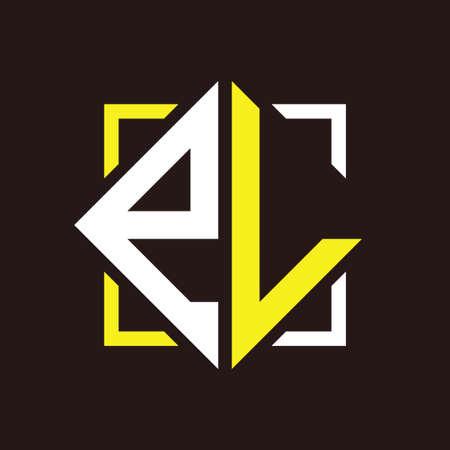 E L Initials quadrangle monogram with square