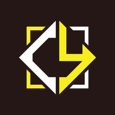 C Y initials quadrangle monogram with square