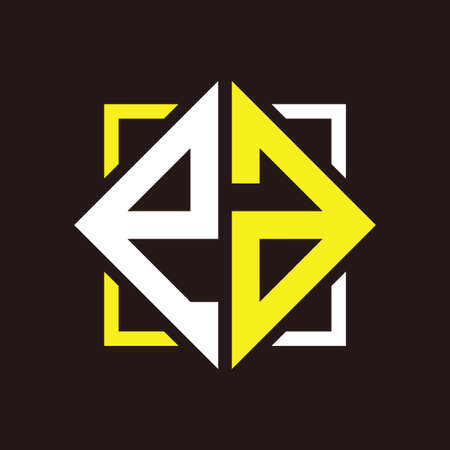 E A Initials quadrangle monogram with square Illustration
