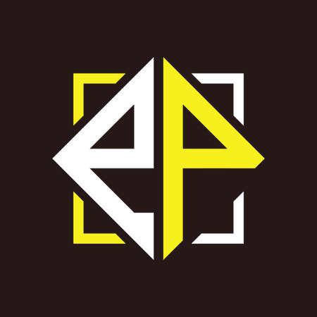 E P Initials quadrangle monogram with square