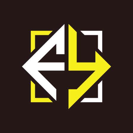 F Y Initials quadrangle monogram with square Illustration