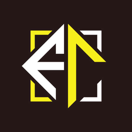 F R Initials quadrangle monogram with square