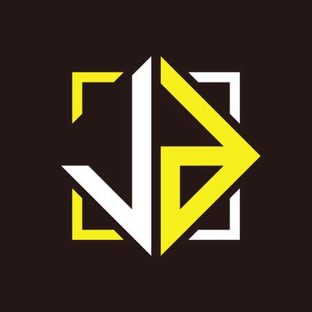 J D Initials quadrangle monogram with square