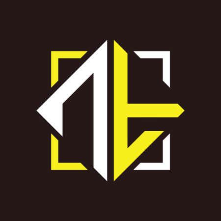 N T Initials quadrangle monogram with square