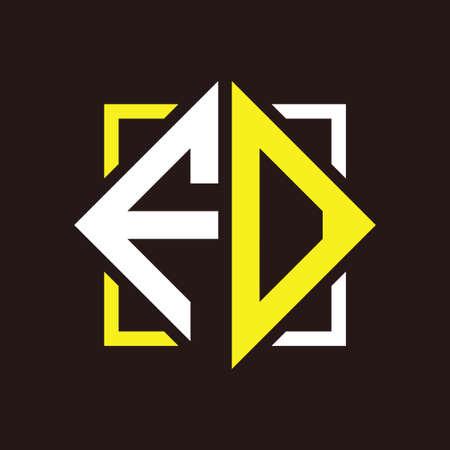 F O Initials quadrangle monogram with square