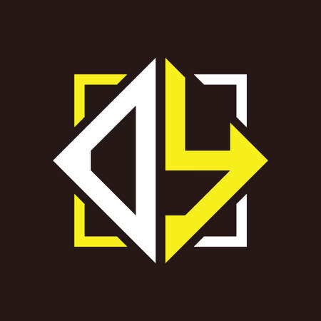 O Y Initials quadrangle monogram with square