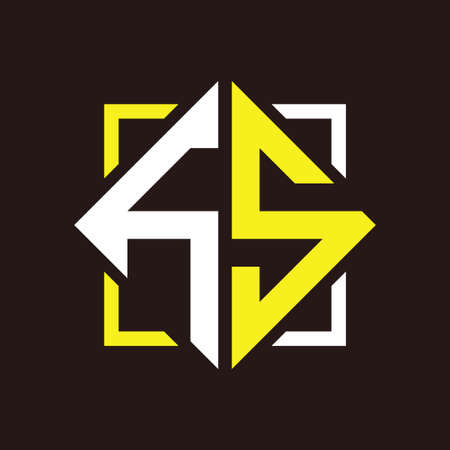 H S Initials quadrangle monogram with square