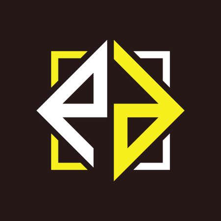 P D Initials quadrangle monogram with square Illustration