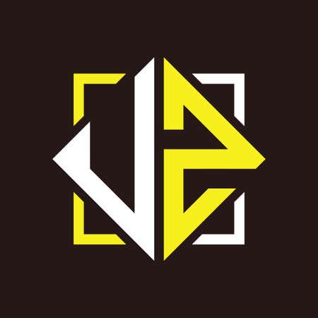 U Z Initials quadrangle monogram with square