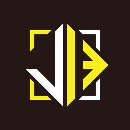 J I Initials quadrangle monogram with square