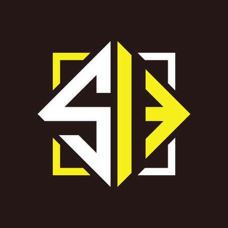 S I Initials quadrangle monogram with square