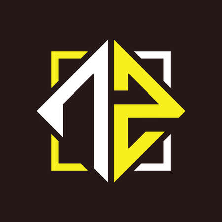 N Z Initials quadrangle monogram with square