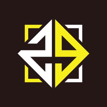 Z G Initials quadrangle monogram with square Illustration