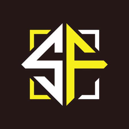 S F Initials quadrangle monogram with square