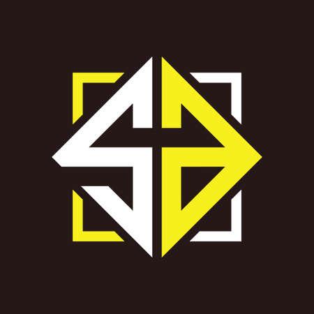 S A Initials quadrangle monogram with square