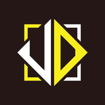 U O Initials quadrangle monogram with square