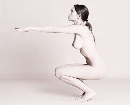 naked woman doing exercise Stock Photo - 5754904