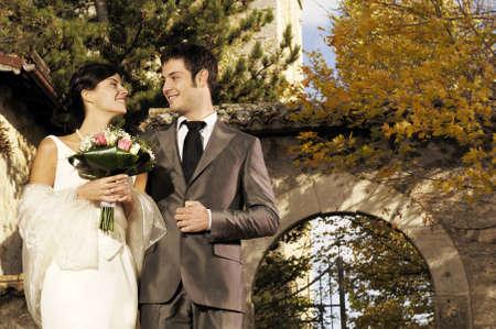 italian man: Wedding in country church Stock Photo