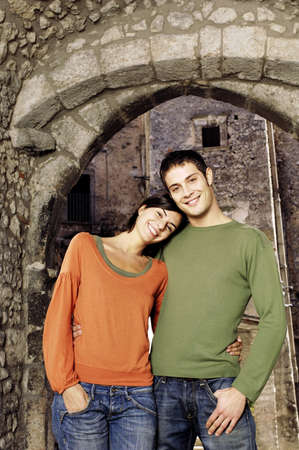 Young adult couple smiling Standard-Bild