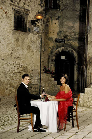 young couple sitting at a restaurant