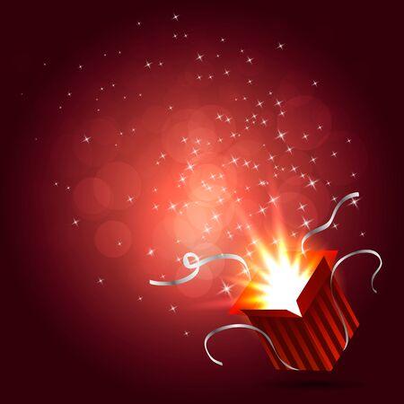 magic box: Magic box. Gift red box. Christmas lights. Vector illustration