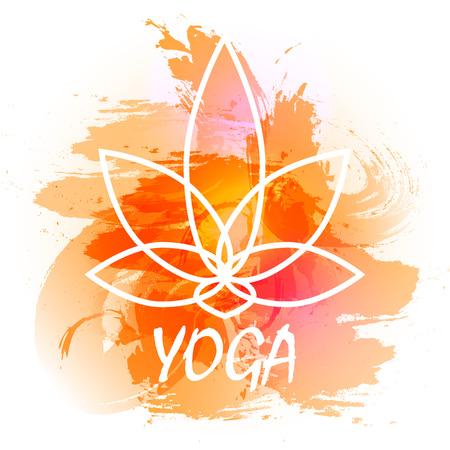 yoga poster: Vector yoga illustration. Yoga poster with an watercolor orange background