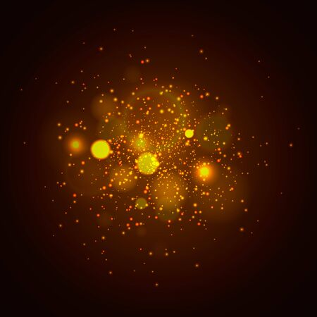 Dark gold and black. Bokeh Christmas background with circle designs or blurred stars shining, glitter magic background Çizim