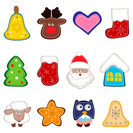sock puppet: Set of christmas icon for decorations. Christmas toy hand made. Vector illustration Illustration