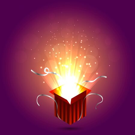 magic box: Magic box on purple background with sparks. Gift red box. Christmas lights. Vector illustration