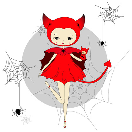 devil horns: Cute little girl in a suit of red devil with a toy. Character design illustration. Spiders and web. Halloween. Masquerade. Print for children. Background for kids