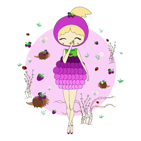 thorn bush: Cute little girl in a suit of berry with a toy. Character design illustration. Forest background. Halloween. Masquerade. Print for children. Background for kids