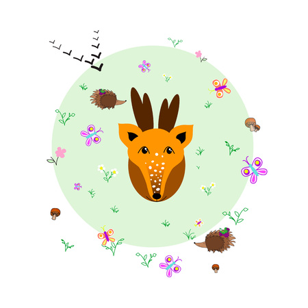 thorn bush: Forest glade with deer, animals and plants. Forest background. Print for children. Background for kids